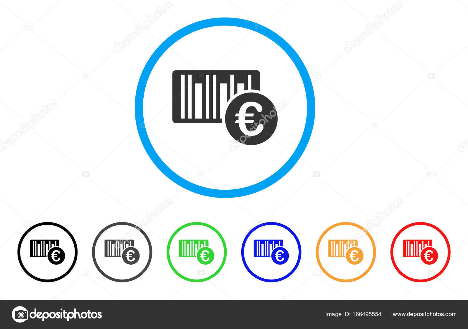 Euro Bar Code Price Rounded Icon Stock Vector Ahasoft 166495554