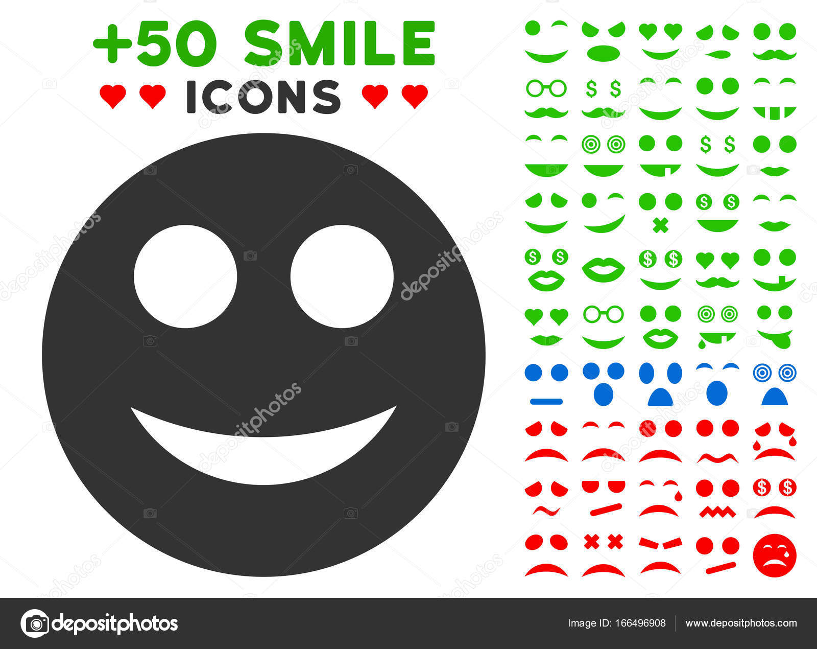 Smile Smiley Icon With Bonus Emotion Collection Stock Vector