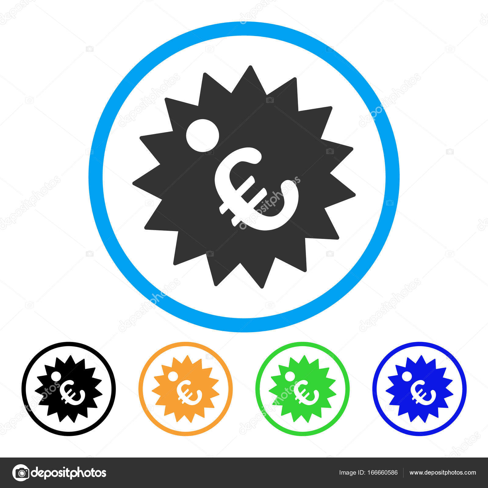 Euro price tag rounded icon stock vector ahasoft 166660586 euro price tag icon vector illustration style is a flat iconic euro price tag gray rounded symbol inside light blue circle with black green blue biocorpaavc