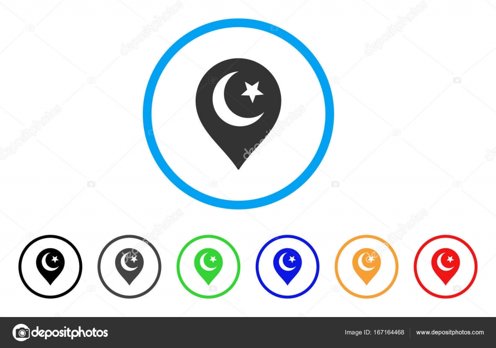 Muslim Symbol Marker Rounded Icon Stock Vector Ahasoft 167164468