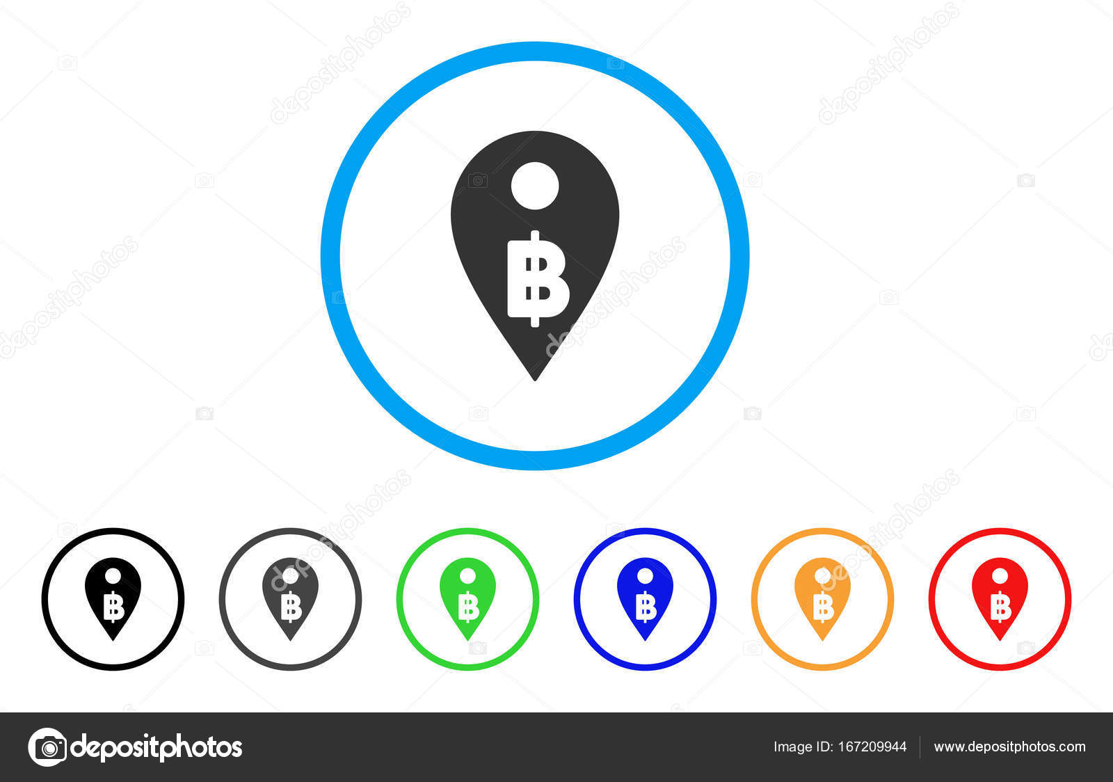 Thai Baht Map Marker Rounded Icon Stock Vector Ahasoft 167209944