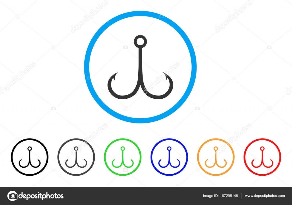 Двойной рыболовный крючок округлые значок — Векторное изображение ...