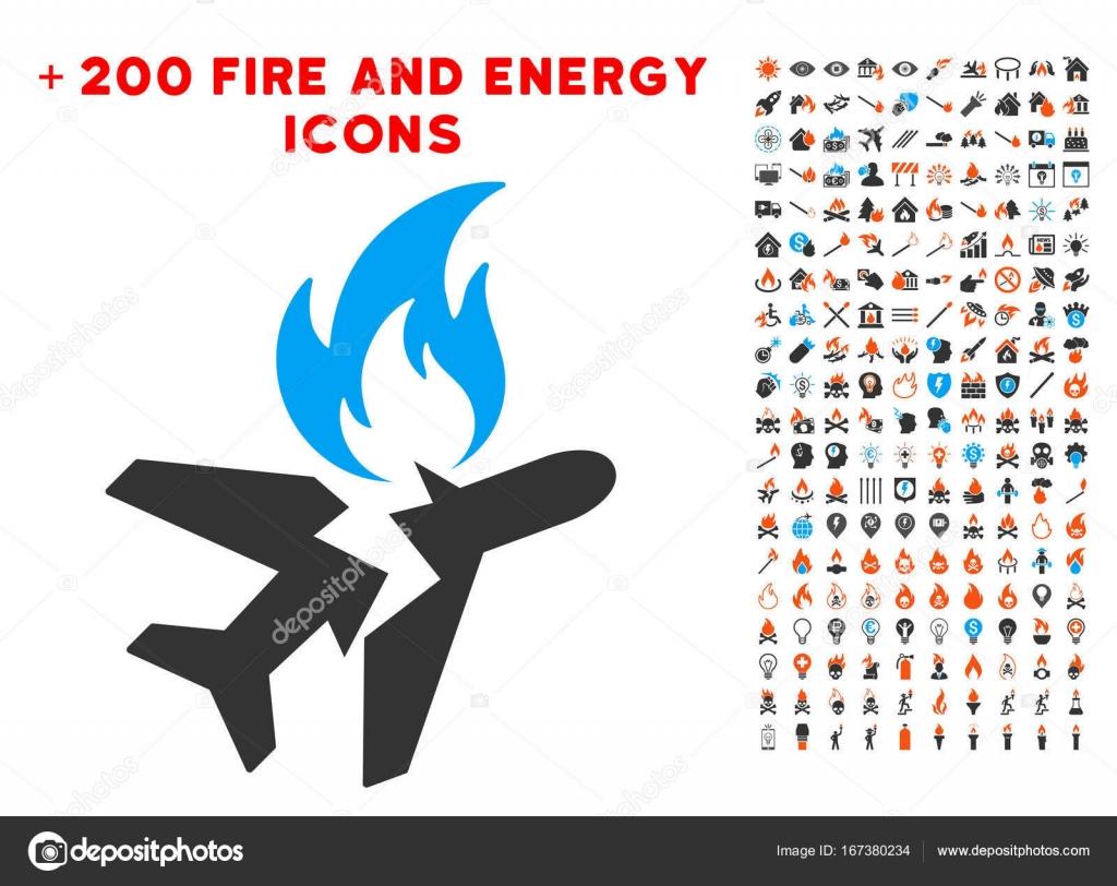 Airplane Fire Crash Icon with Bonus Power Clipart — Stock ...