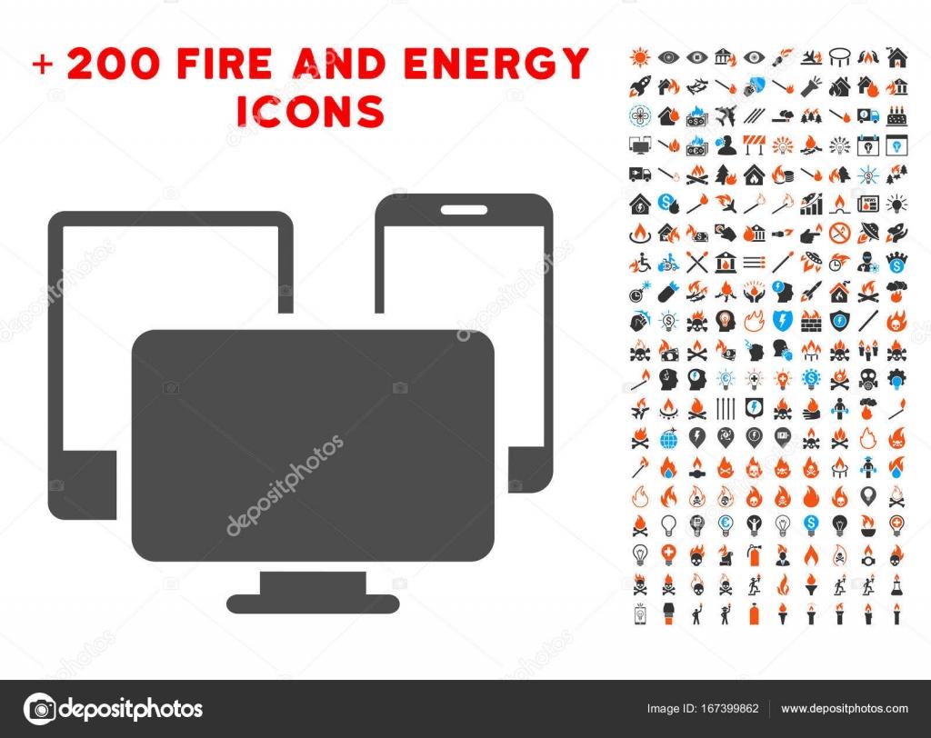 Elektronische Geräte-Symbol mit Bonus-Flamme-Set — Stockvektor ...