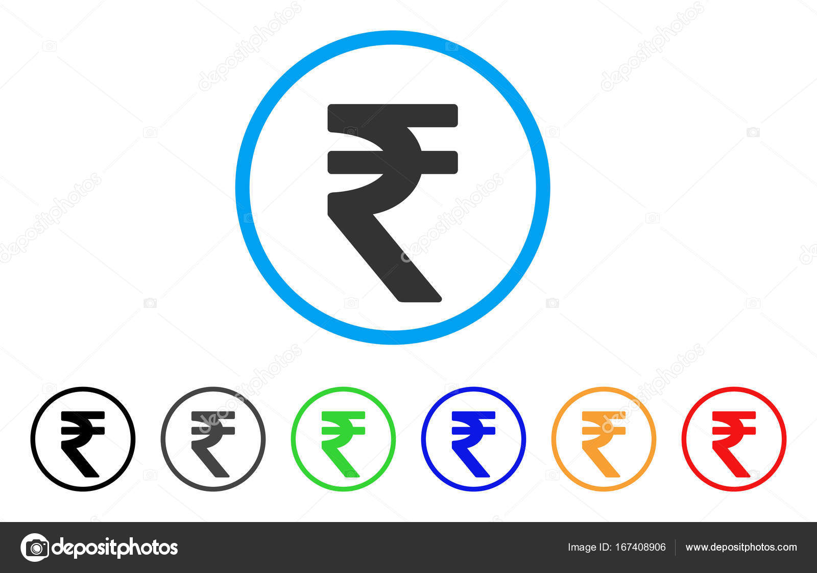 Indian rupee vector icon stock vector ahasoft 167408906 indian rupee icon vector illustration style is a flat iconic indian rupee symbol with black grey green blue red orange color versions biocorpaavc Choice Image