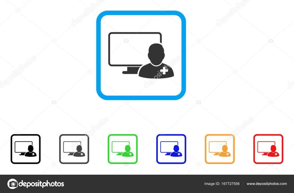 Doctor en línea enmarcada icono Vector — Vector de stock © ahasoft ...