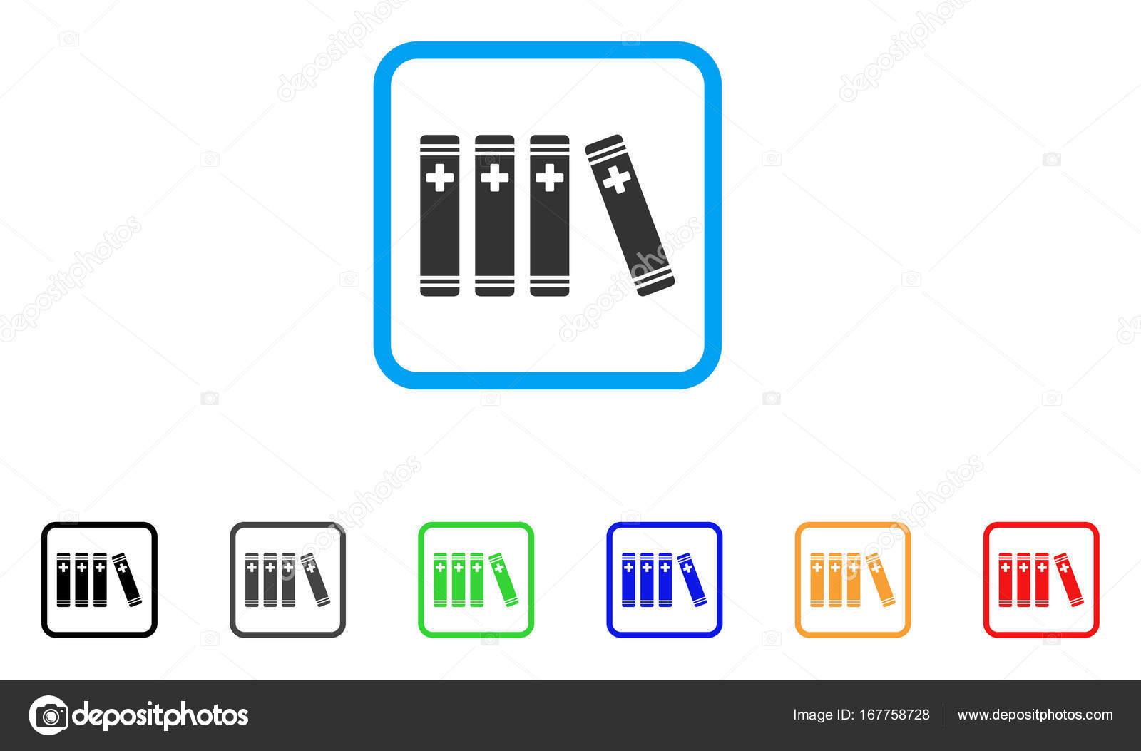 Medizinische Bücher gerahmt Vektor Icon — Stockvektor © ahasoft ...
