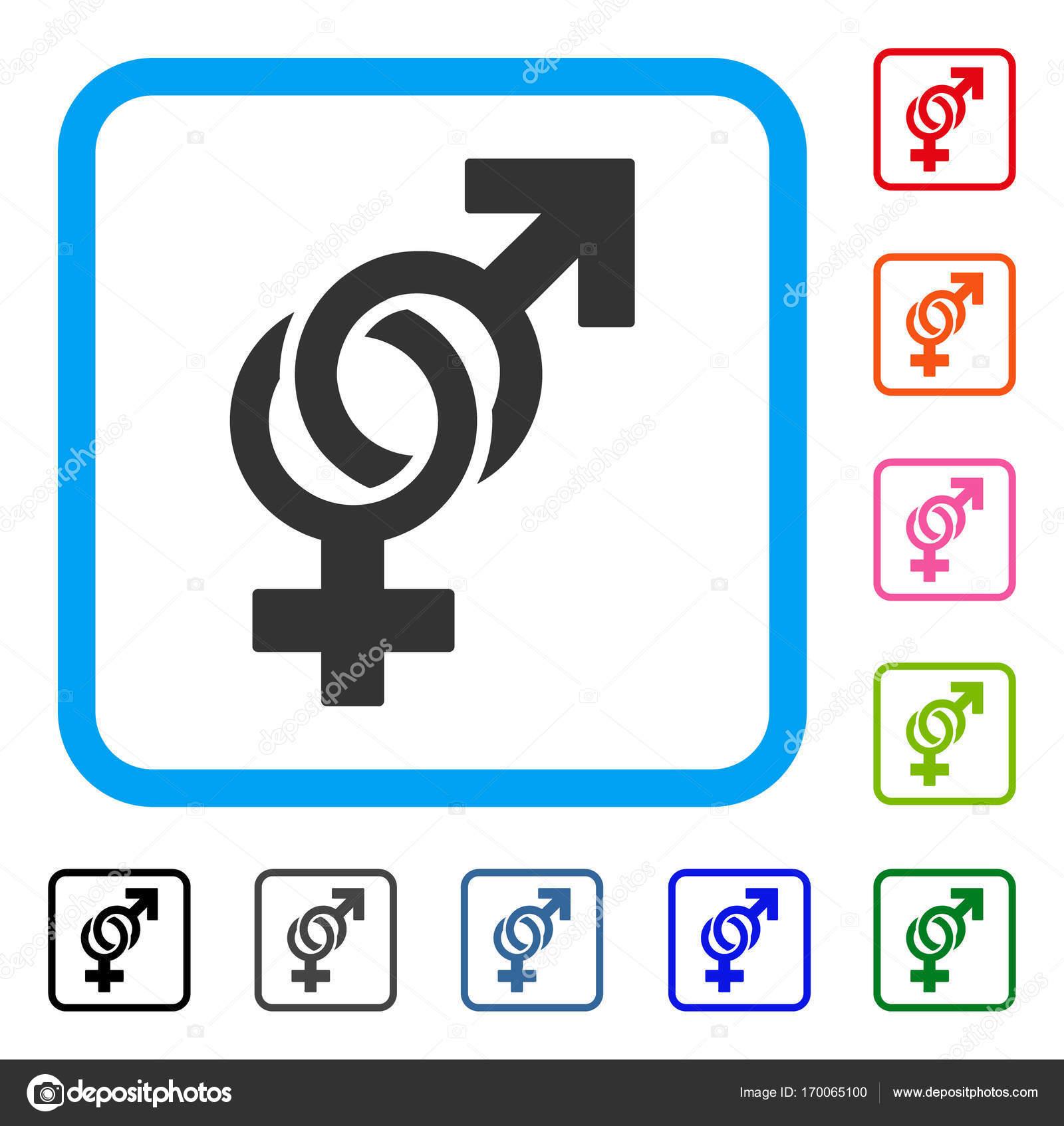 Símbolos sexuales enmarcan icono — Archivo Imágenes Vectoriales ...