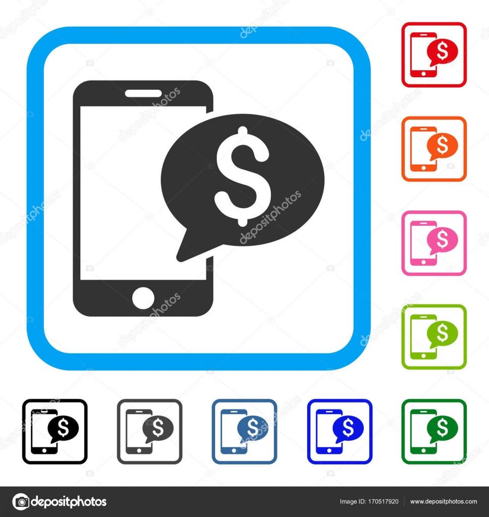Mensaje de dinero móvil enmarcada icono — Vector de stock © ahasoft ...