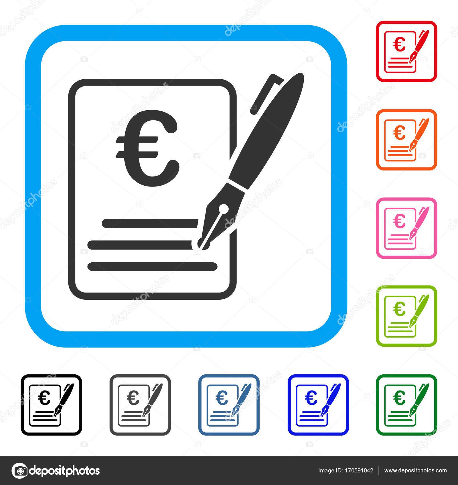 Firma de contrato euro enmarcada icono — Vector de stock © ahasoft ...