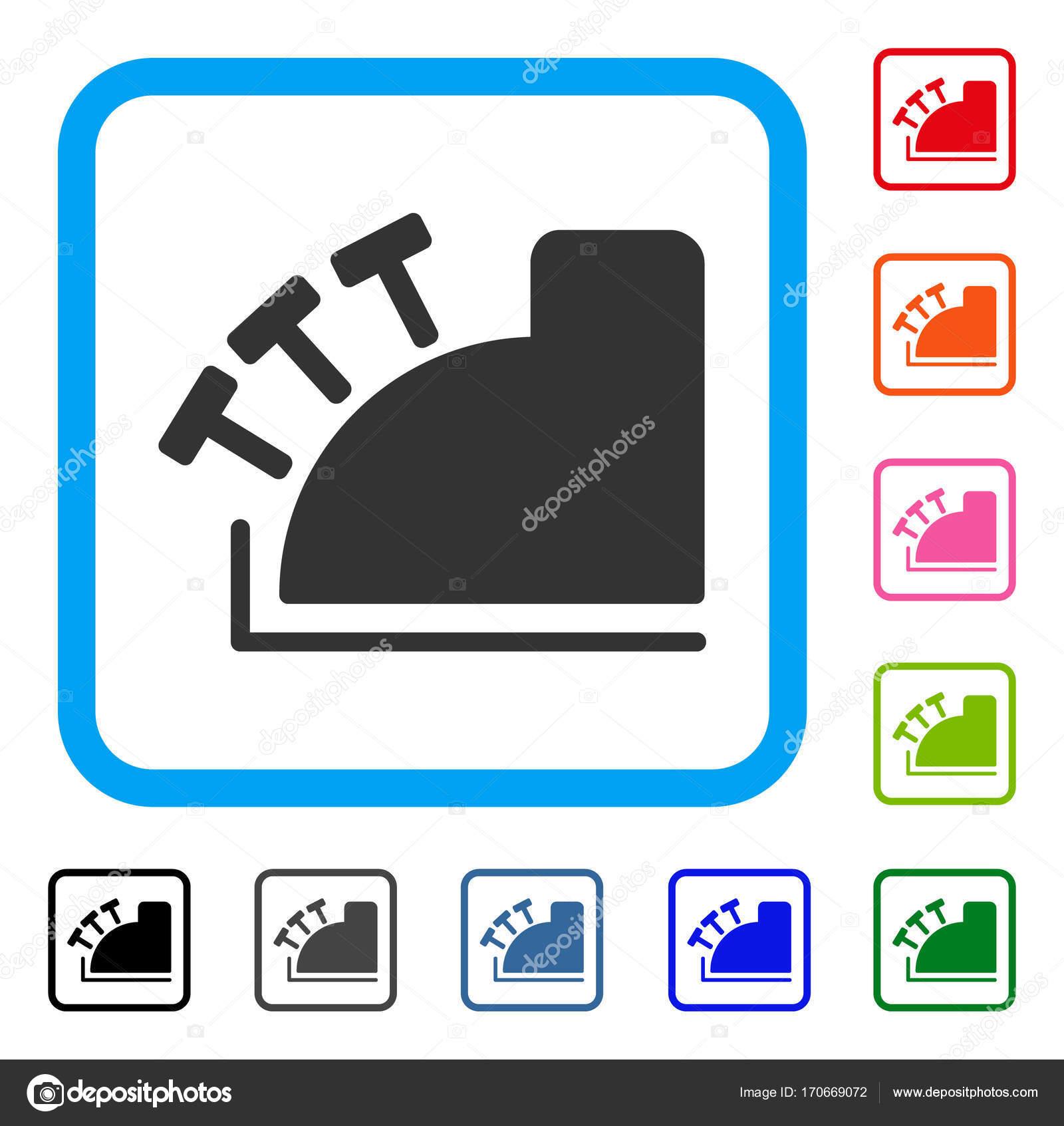 Caja registradora enmarcada icono — Vector de stock © ahasoft #170669072