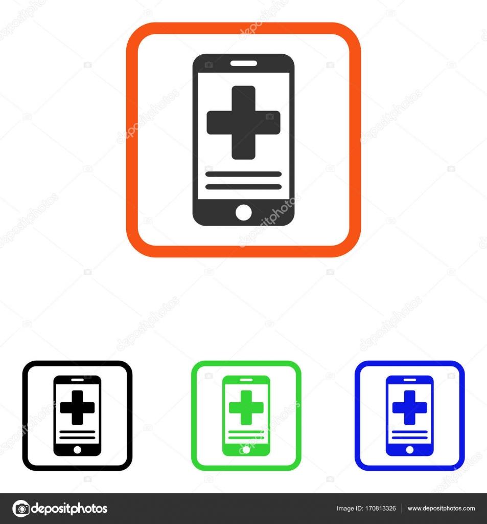 Datos médicos en línea enmarcan icono — Vector de stock © ahasoft ...