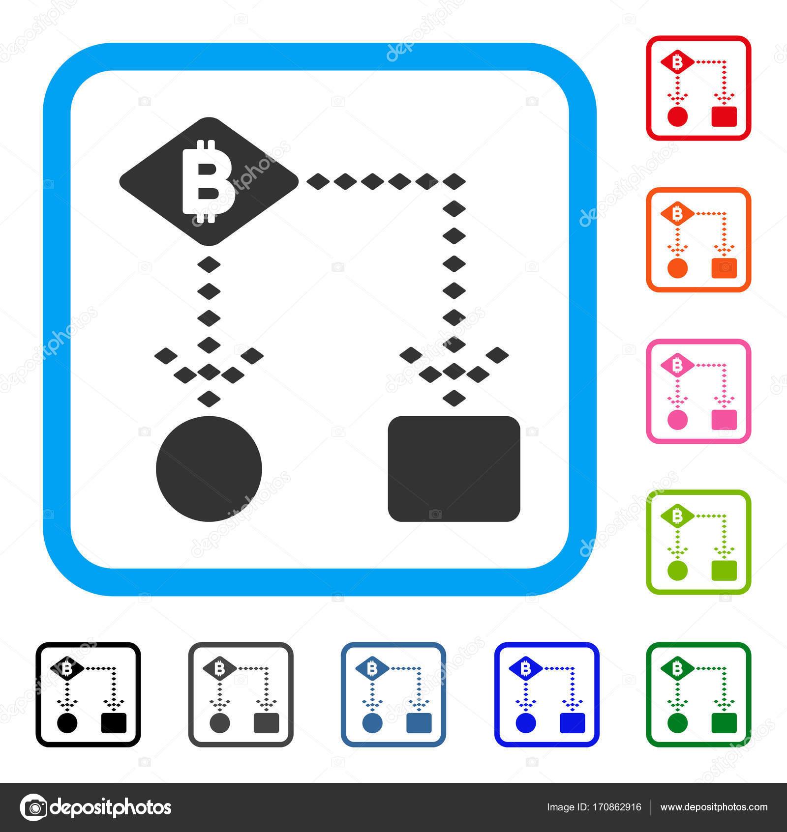 Bitcoin Algorithm Scheme Framed Icon — Stock Vector