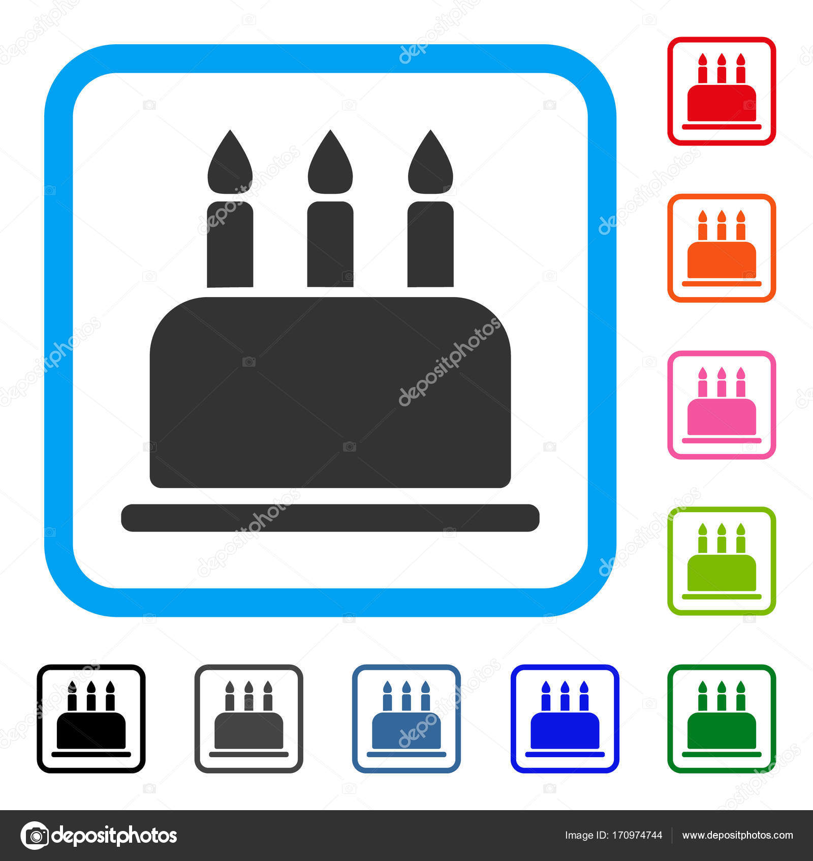 Geburtstagskuchen gerahmt Symbol — Stockvektor © ahasoft #170974744