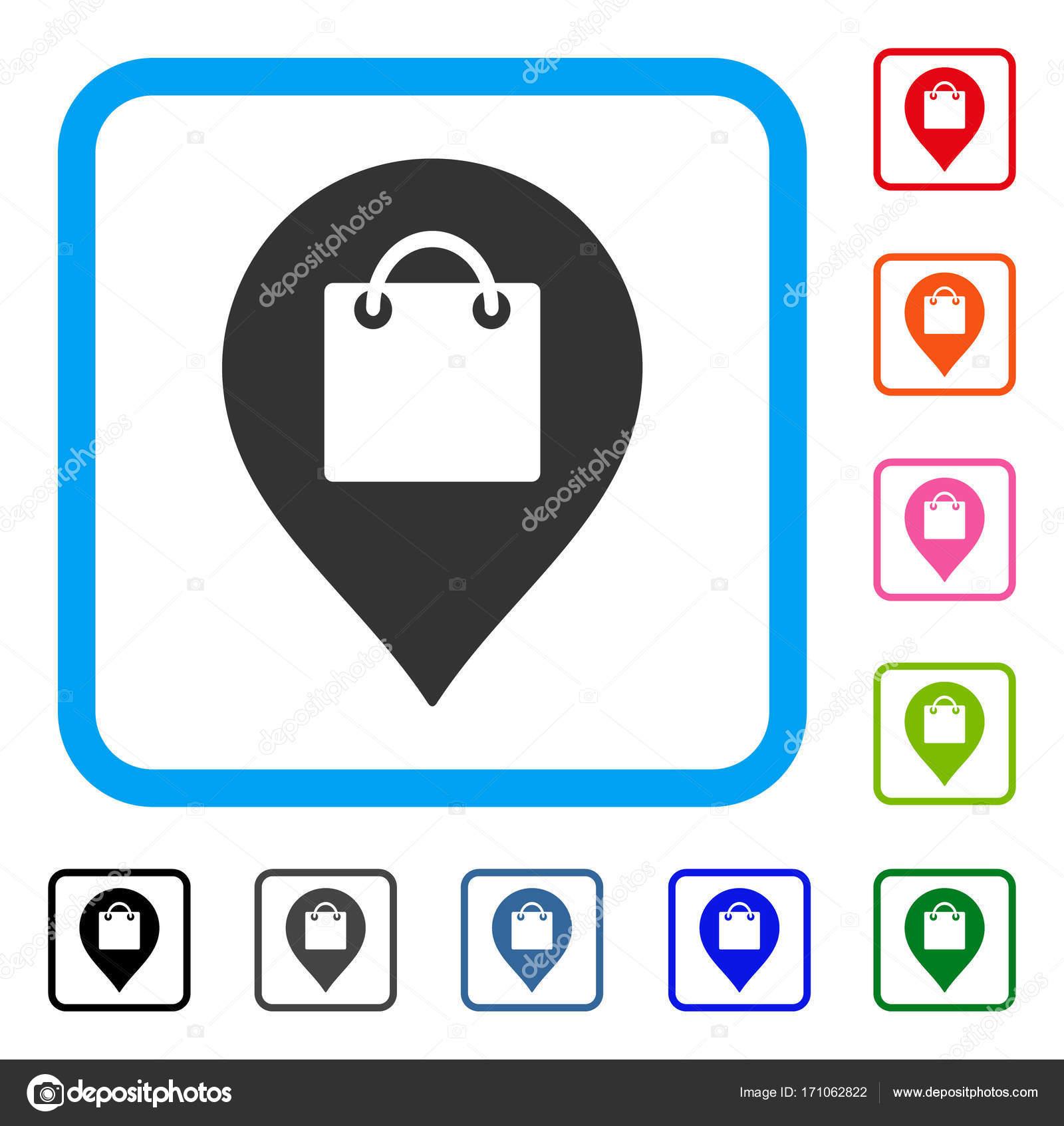 Einkaufstasche Marker gerahmt Symbol — Stockvektor © ahasoft #171062822