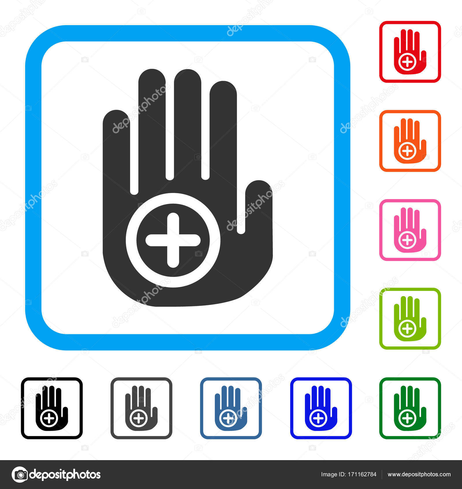 Medical Target Palm Framed Icon — Stock Vector © ahasoft #171162784