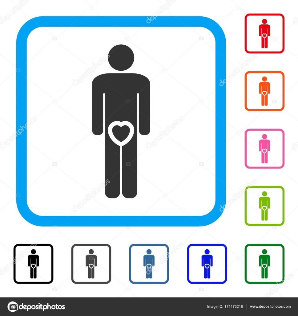Liebe männliche Genitalien gerahmt Symbol — Stockvektor © ahasoft ...
