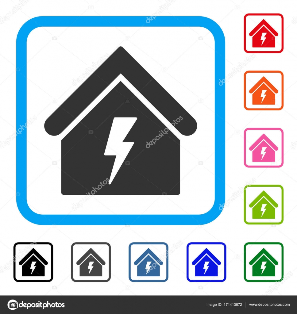 Building Electricity Framed Icon — Stock Vector © ahasoft #171413672