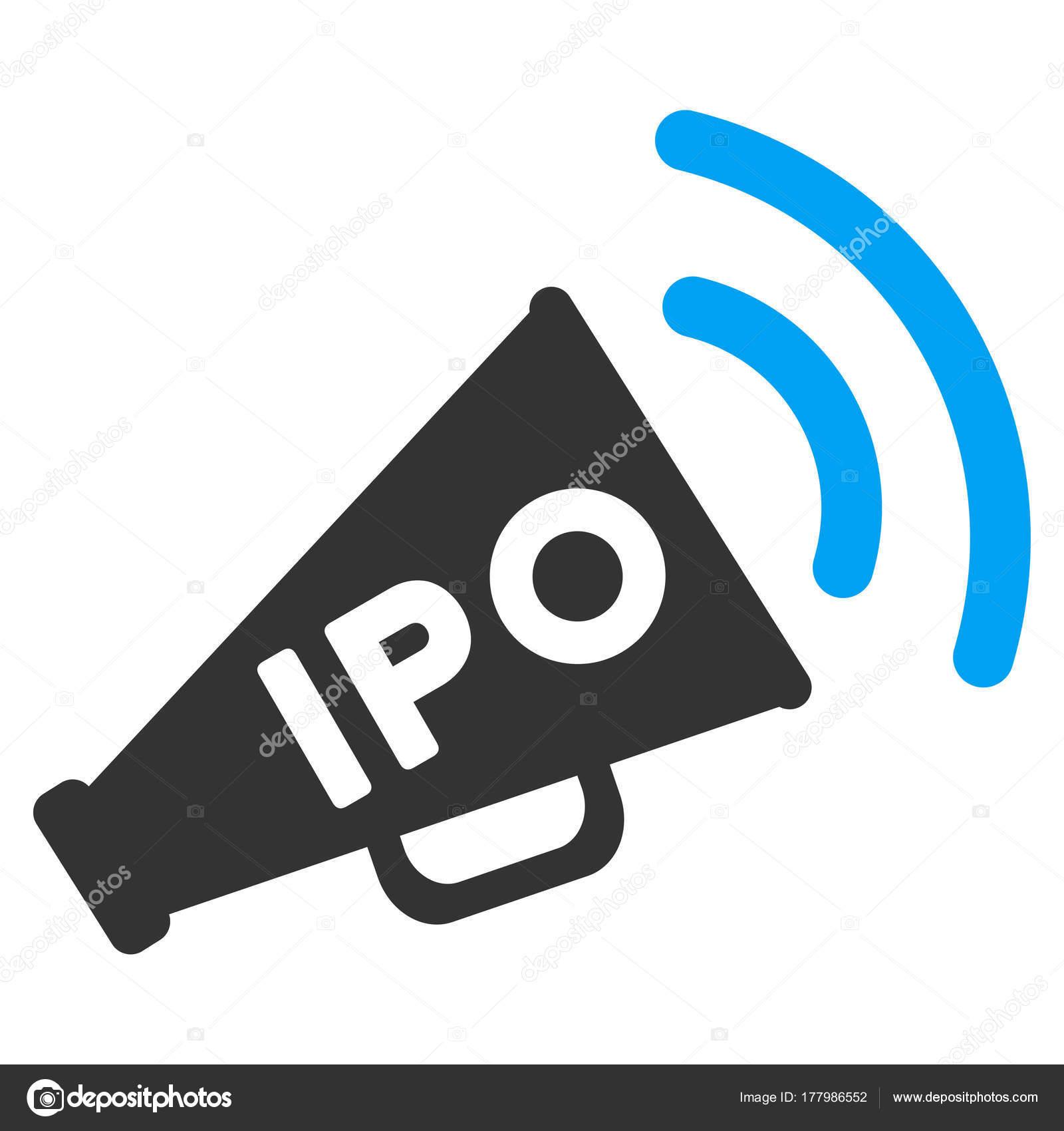 52ffee07bf Ícone de vetor de IPO notícias megafone. Estilo de ilustração é um plano  icônico símbolo bicolor azul e cinzento em fundo branco — Vetor de ...