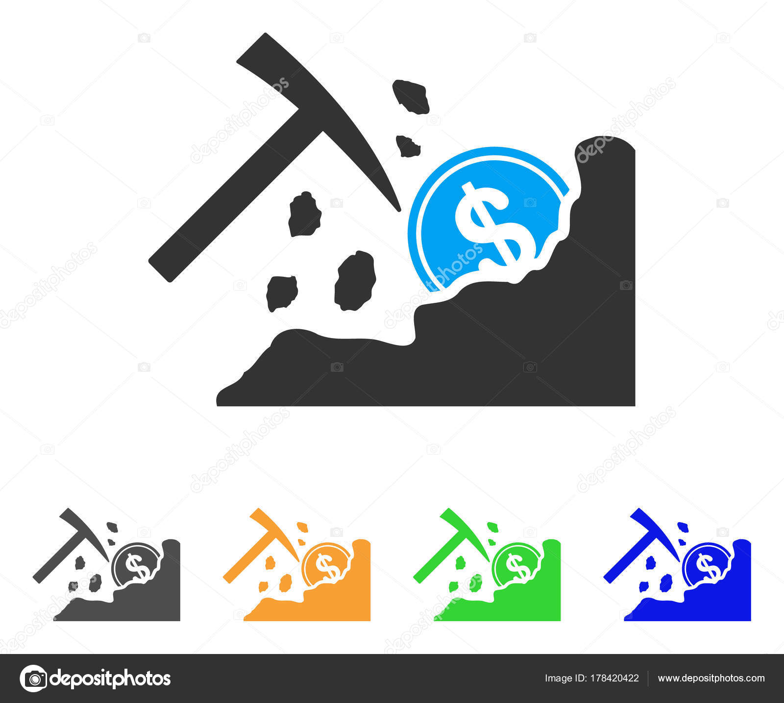 Dólar minería martillo Vector icono — Vector de stock © ahasoft ...