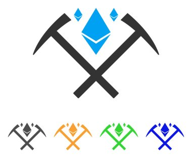Ethereum Crystal Mining Hammers Vector Icon