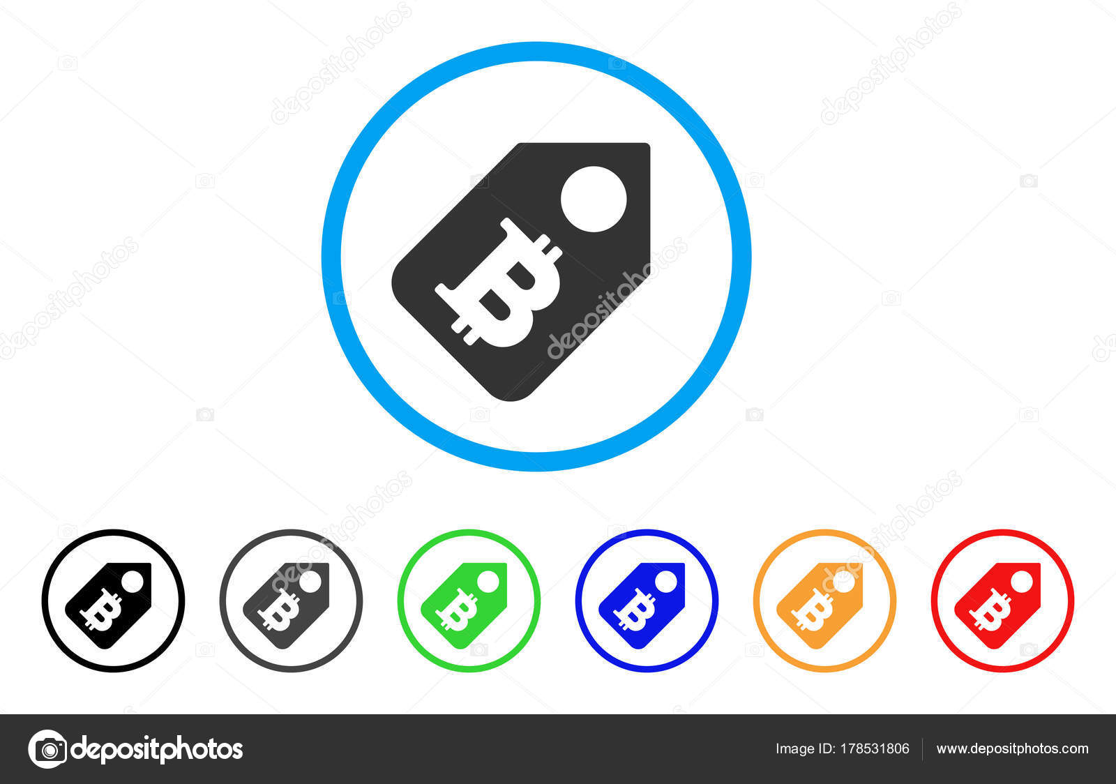 Bitcoin Price Tag Rounded Icon Stock Vector Ahasoft 178531806