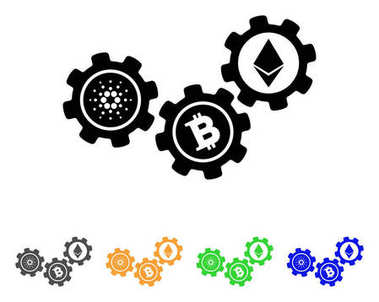 Cardano Cryptocurrency Gears Vector Icon