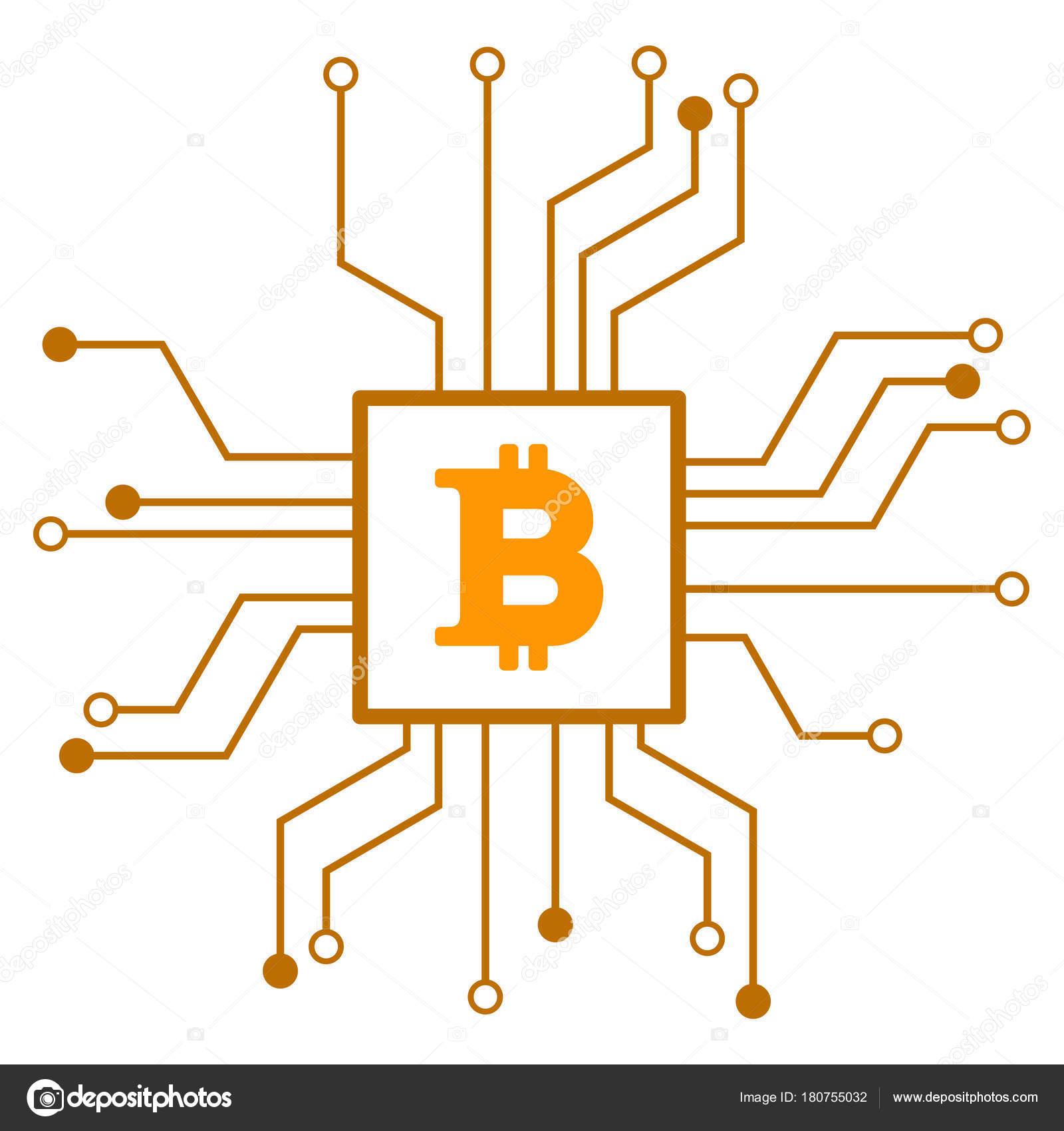 Bitcoin-Prozessor Schaltung flache Symbol — Stockvektor © ahasoft ...