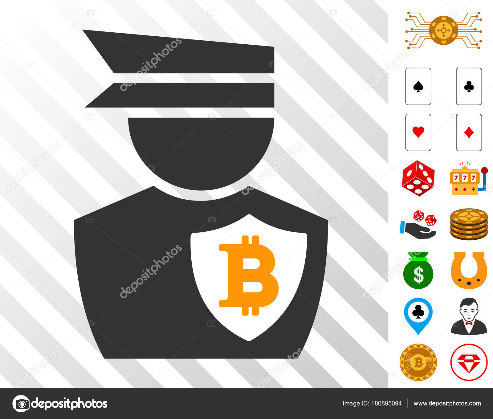 Bitcoin Police Officer Icon With Bonus Stock Vector Ahasoft