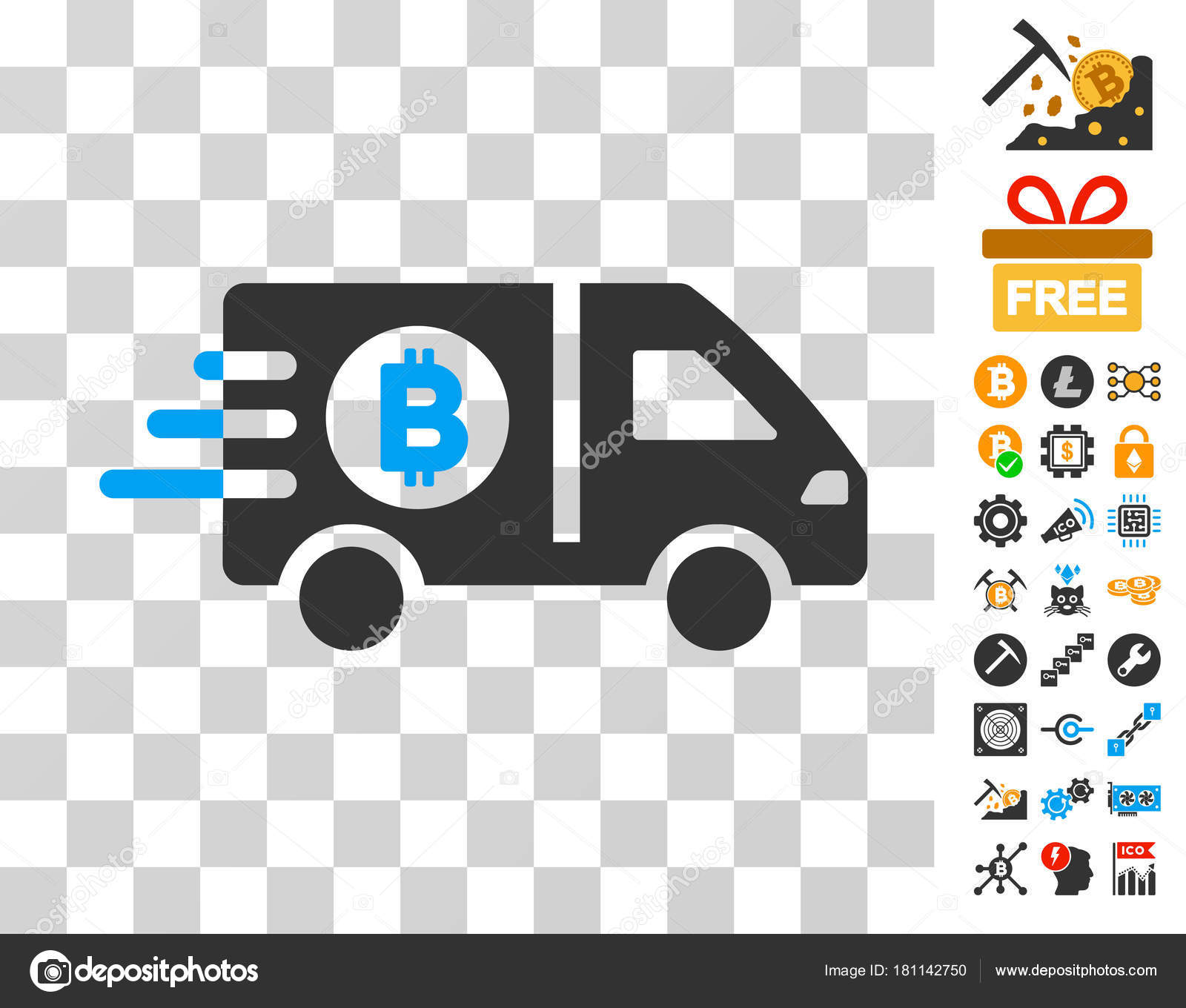 Fast Bitcoin Delivery Car Icon with Bonus — Stock Vector © ahasoft