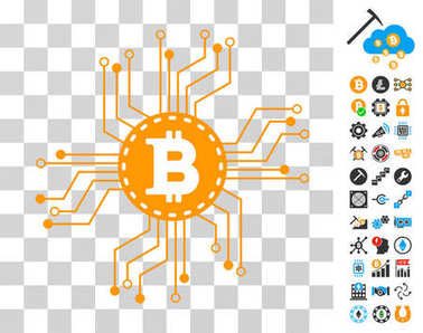 Bitcoin Circuit Scheme Icon with Bonus