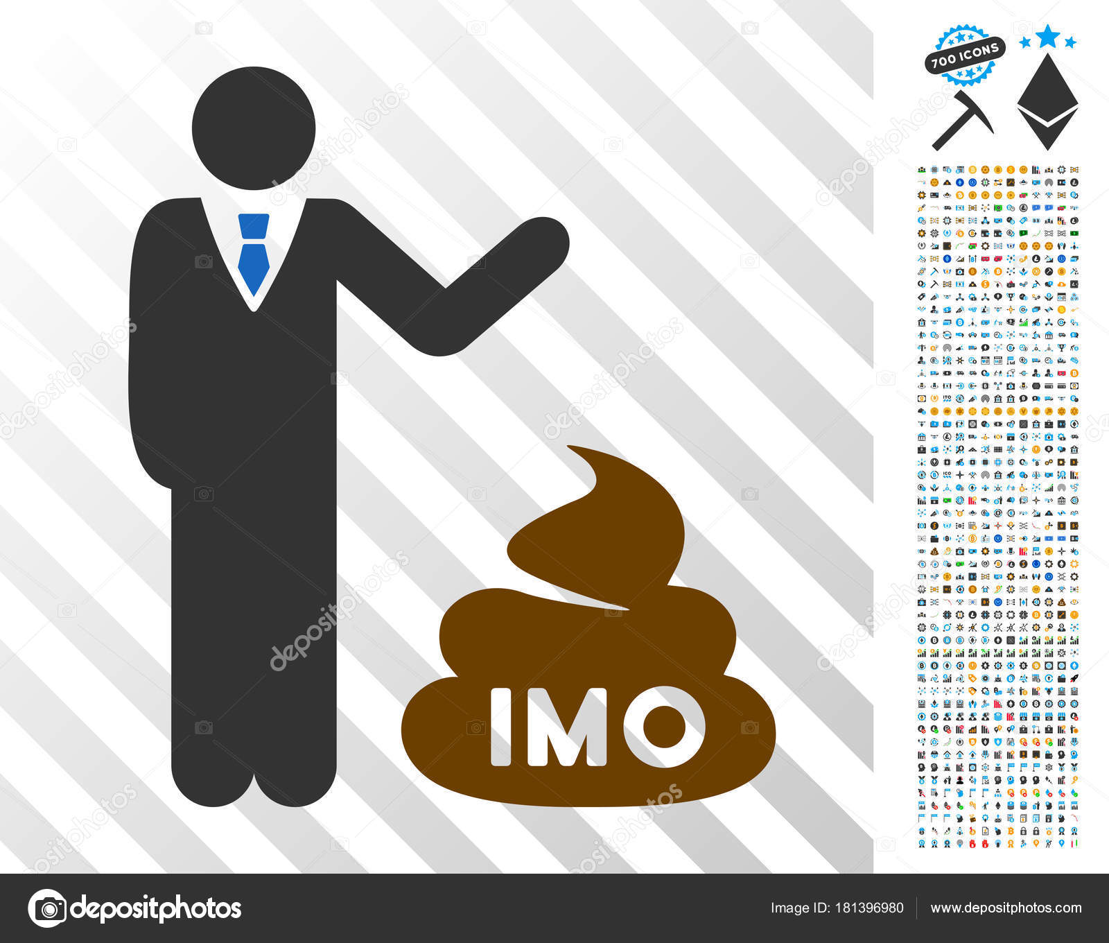 Businessman Show Imo Shit Flat Icon With Bonus Stock Vector