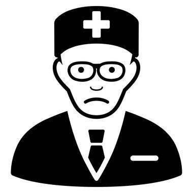 Sad Head Physician Black Icon
