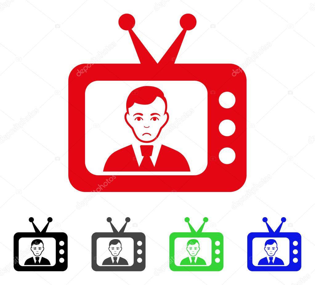 Sad TV Dictor Vector Icon