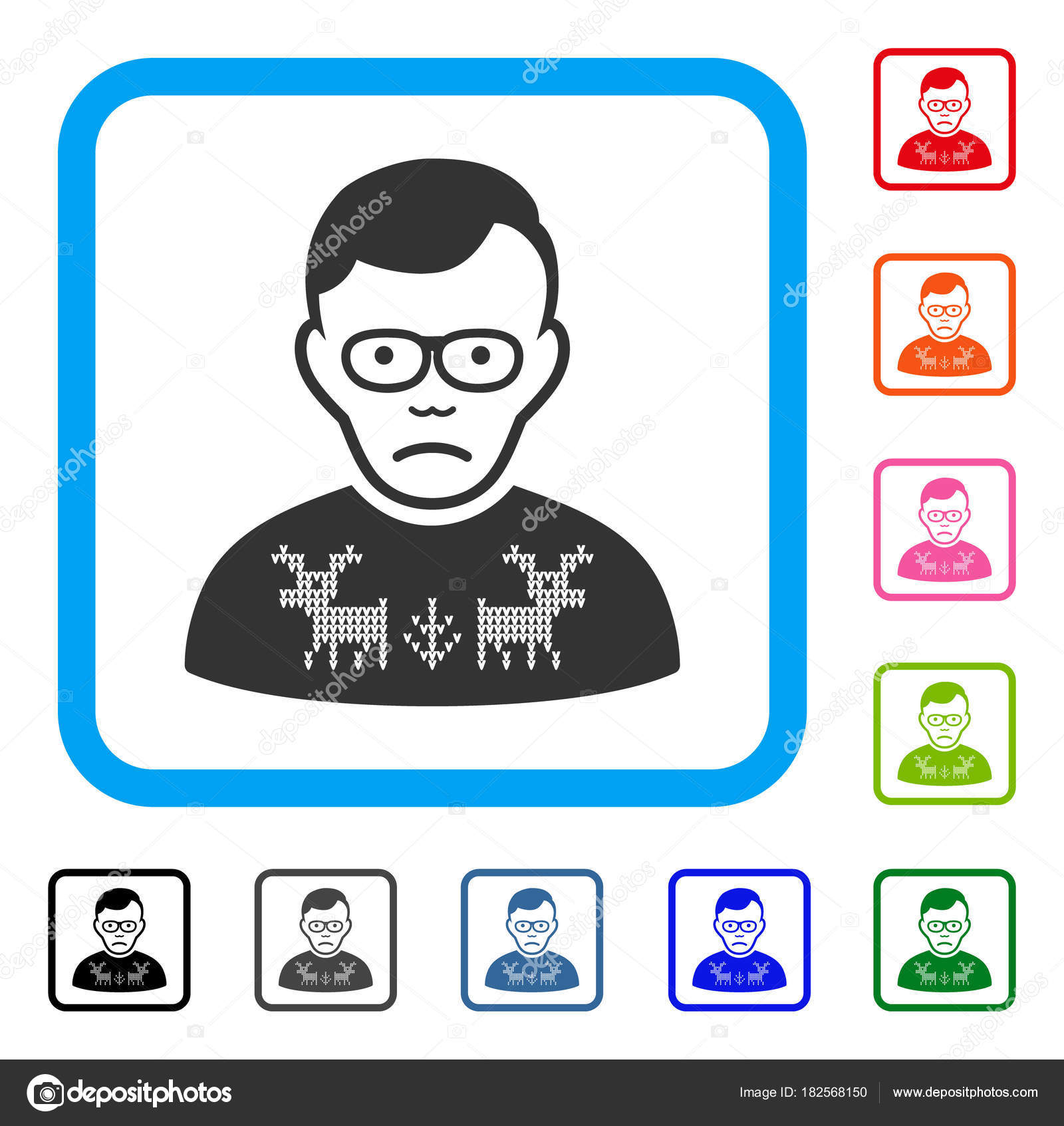 d29be64191fb90 Sadly Deers Pullover Loser vector pictograph. Person face has depressed  mood. Black