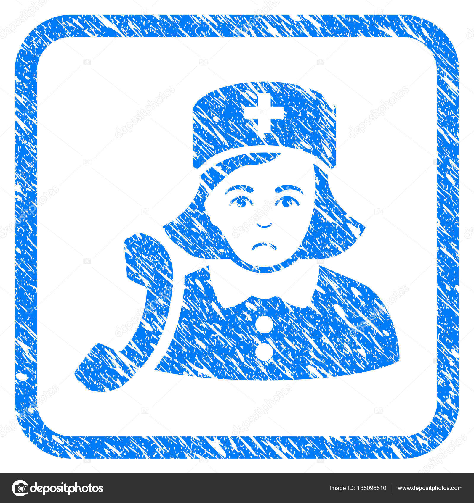 Empfangsdame Krankenschwester gerahmt Stempel — Stockvektor ...