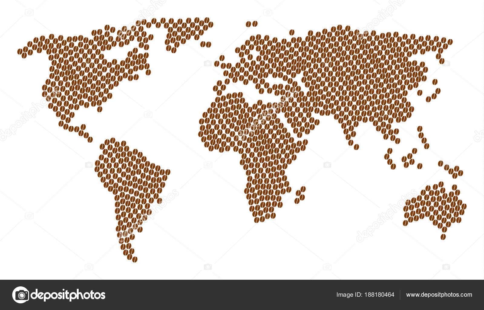 World map mosaic of coffee bean icons stock vector ahasoft world map mosaic of coffee bean icons stock vector gumiabroncs Images