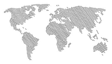 Global Map Collage of Call Icons
