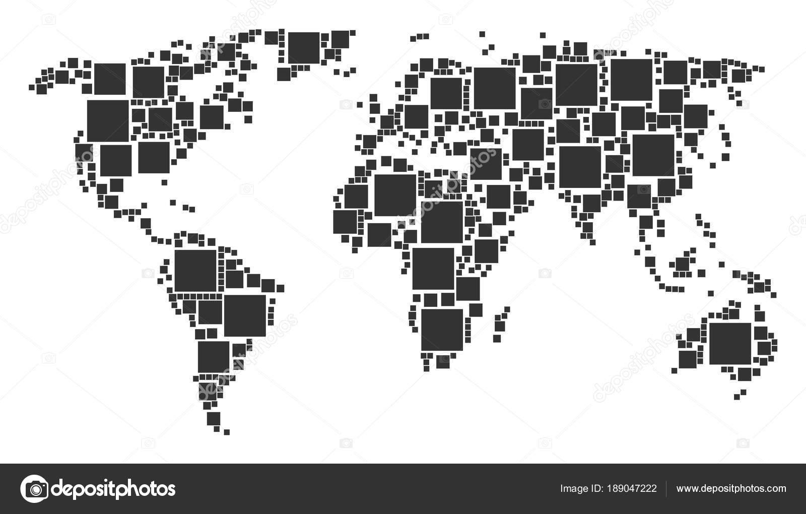 塗りつぶされた正方形アイテムのモザイクの世界地図 ストックベクター
