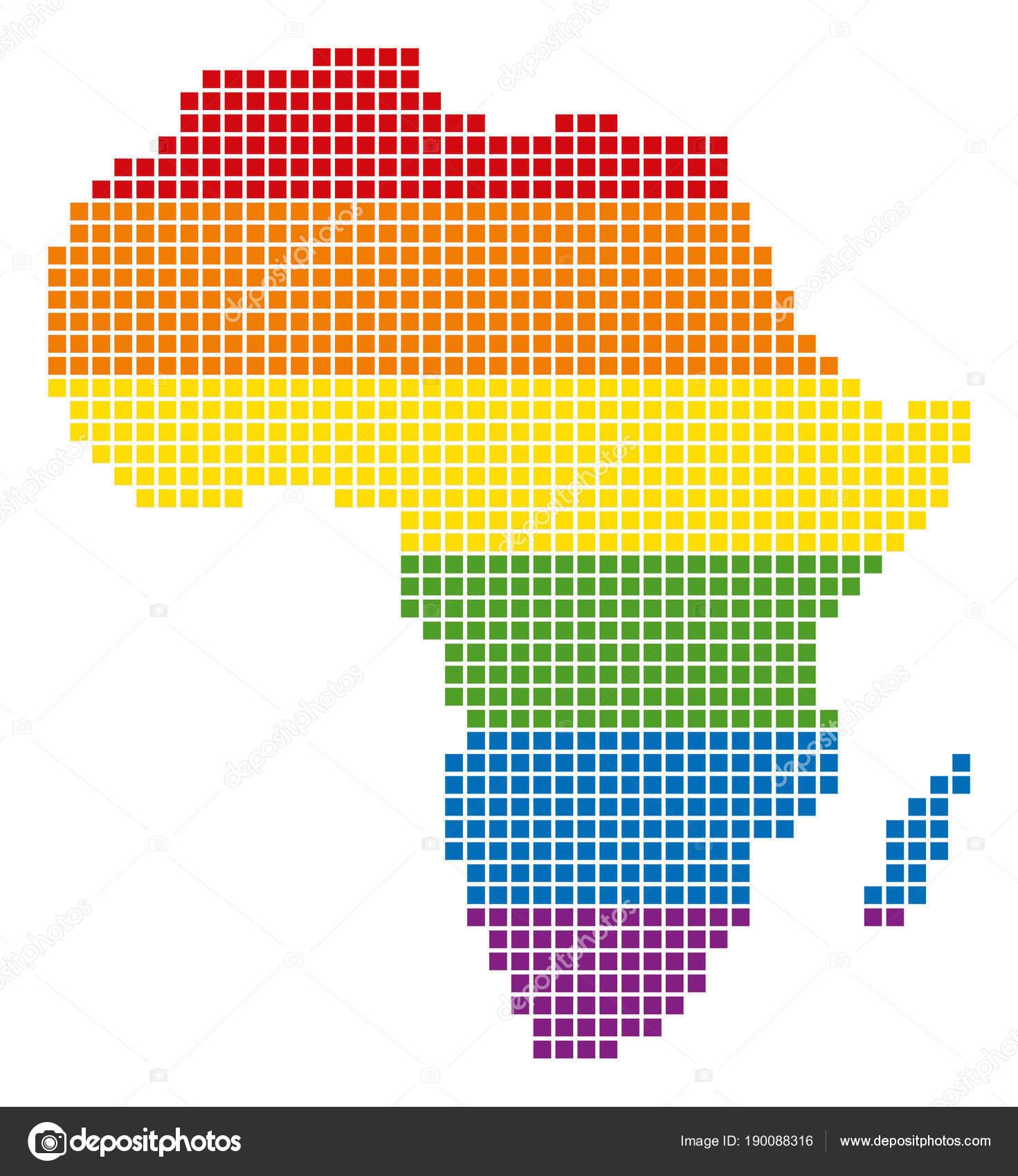 Spectrum Pixel LGBT Africa Map Stock Vector ahasoft 190088316