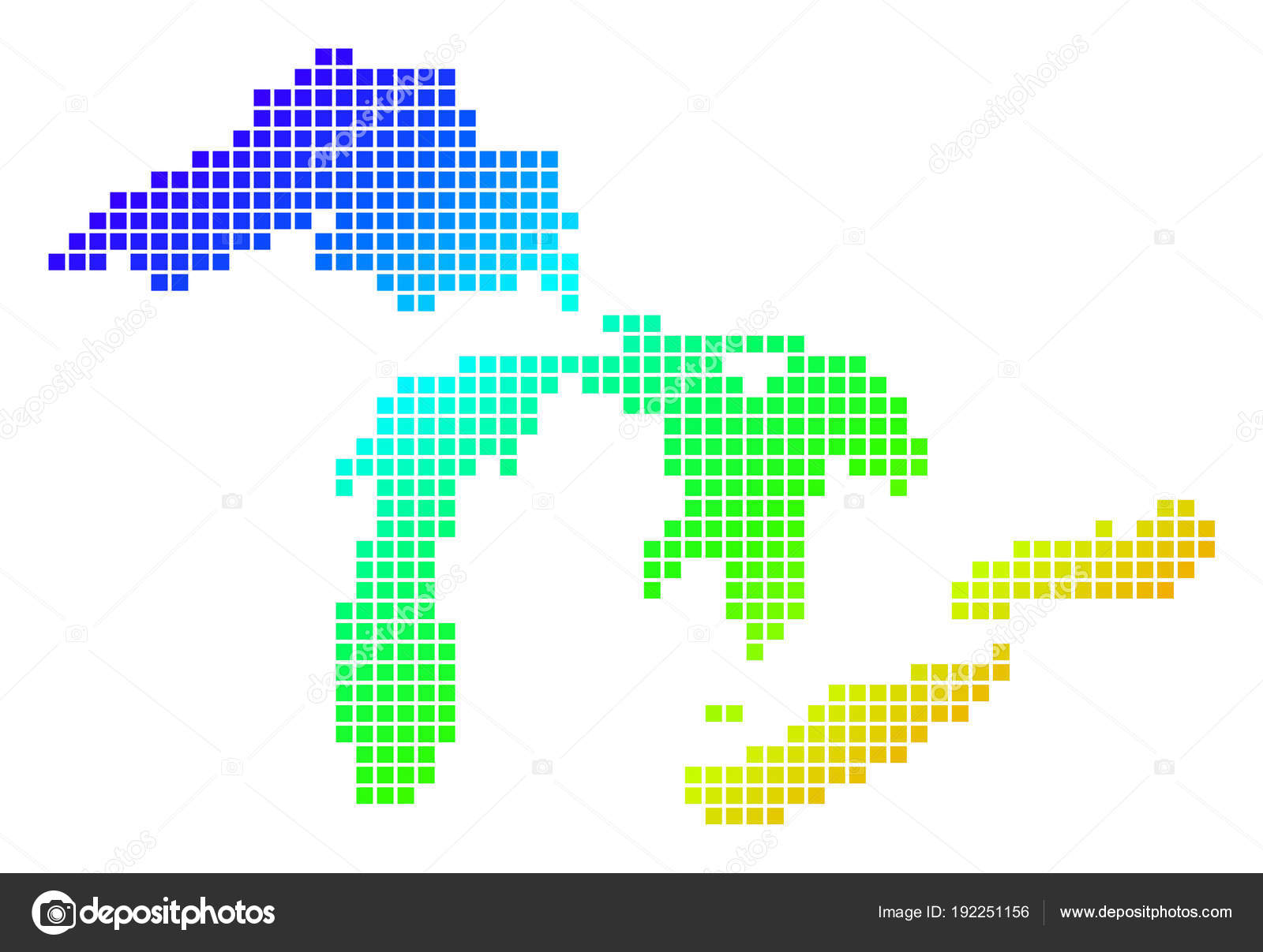 dotted pixel spectrum great lakes map stock vector ahasoft