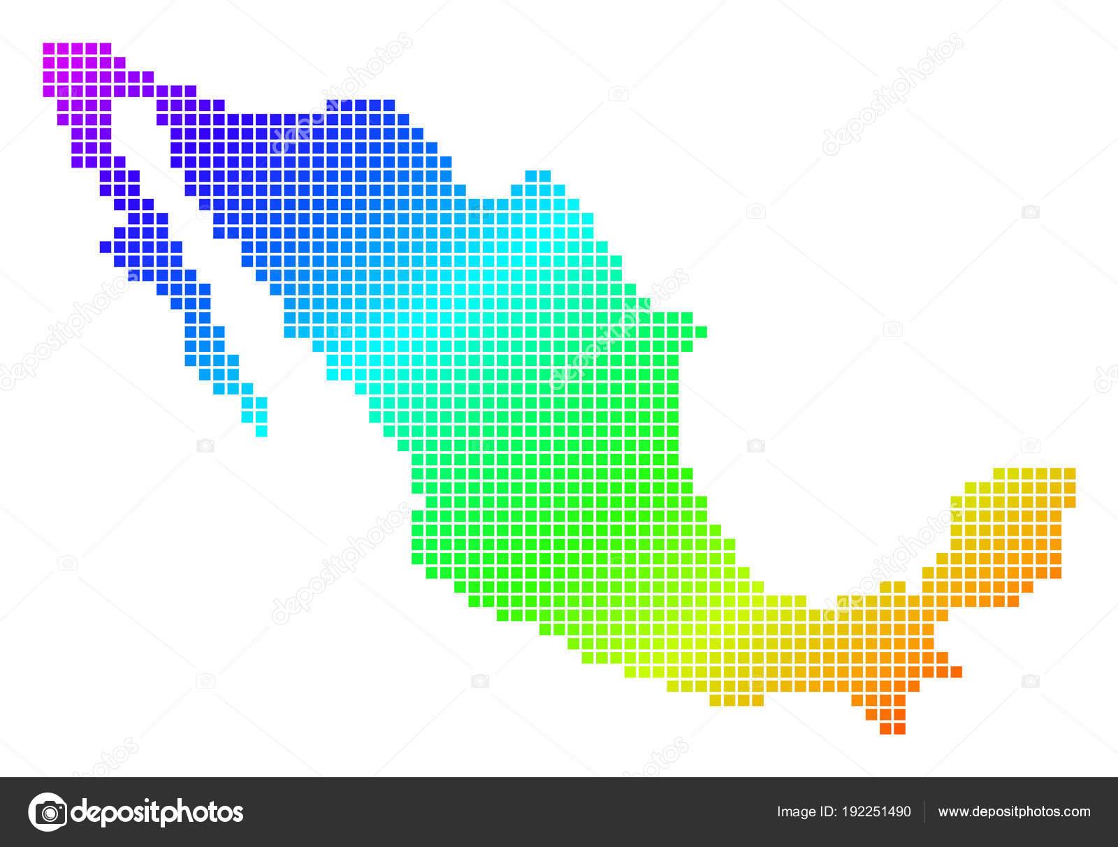 Vektor Landkarte In Leuchtenden Farben Auf Weißem Hintergrund. Spektrum Hat  Diagonalen Farbverlauf. Bunte Vektor Konzept Von Mexiko Karte Punkte  Gemacht ...