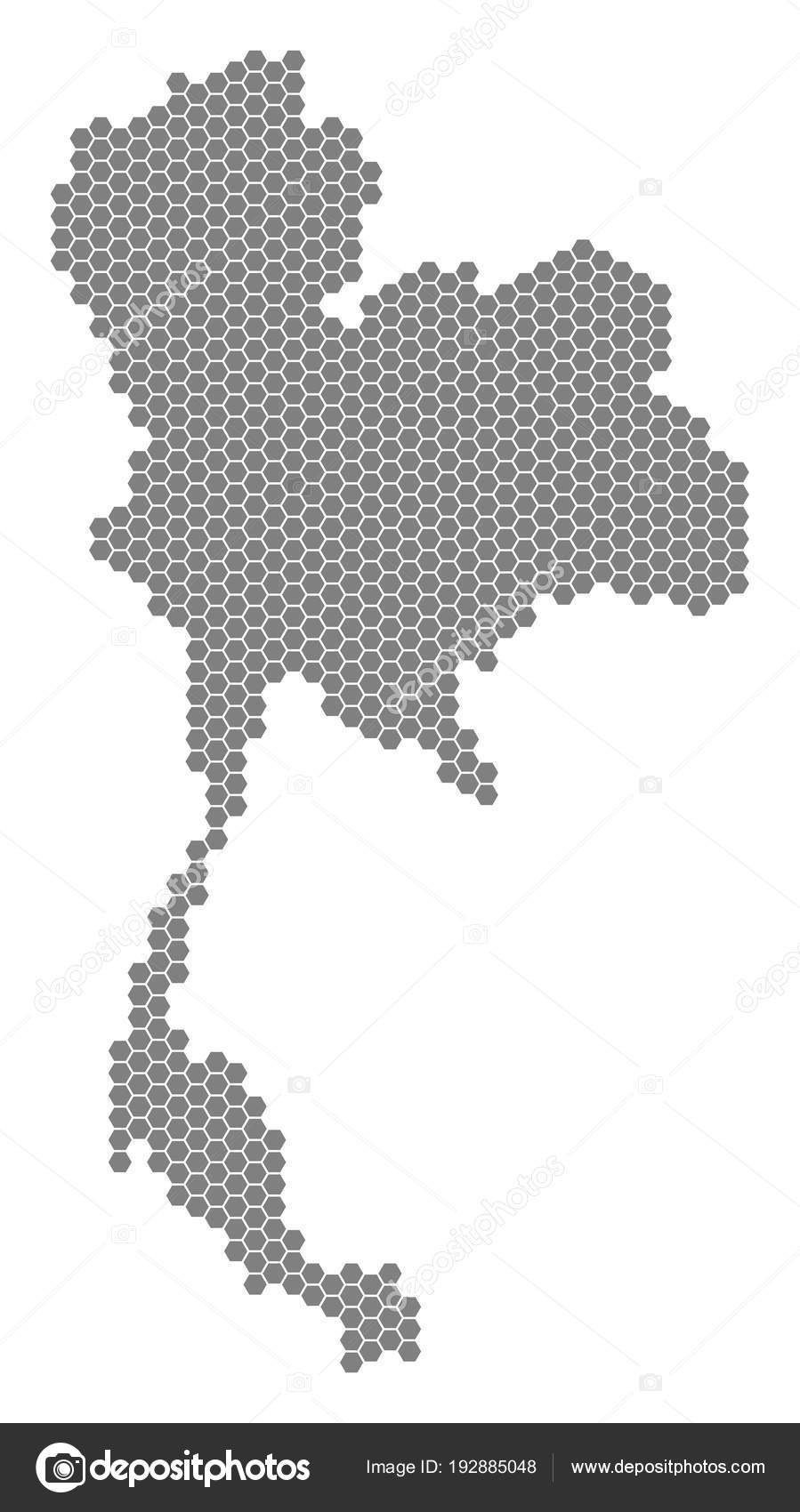 Gray Hexagon Thailand Map — Stock Vector © ahasoft #192885048
