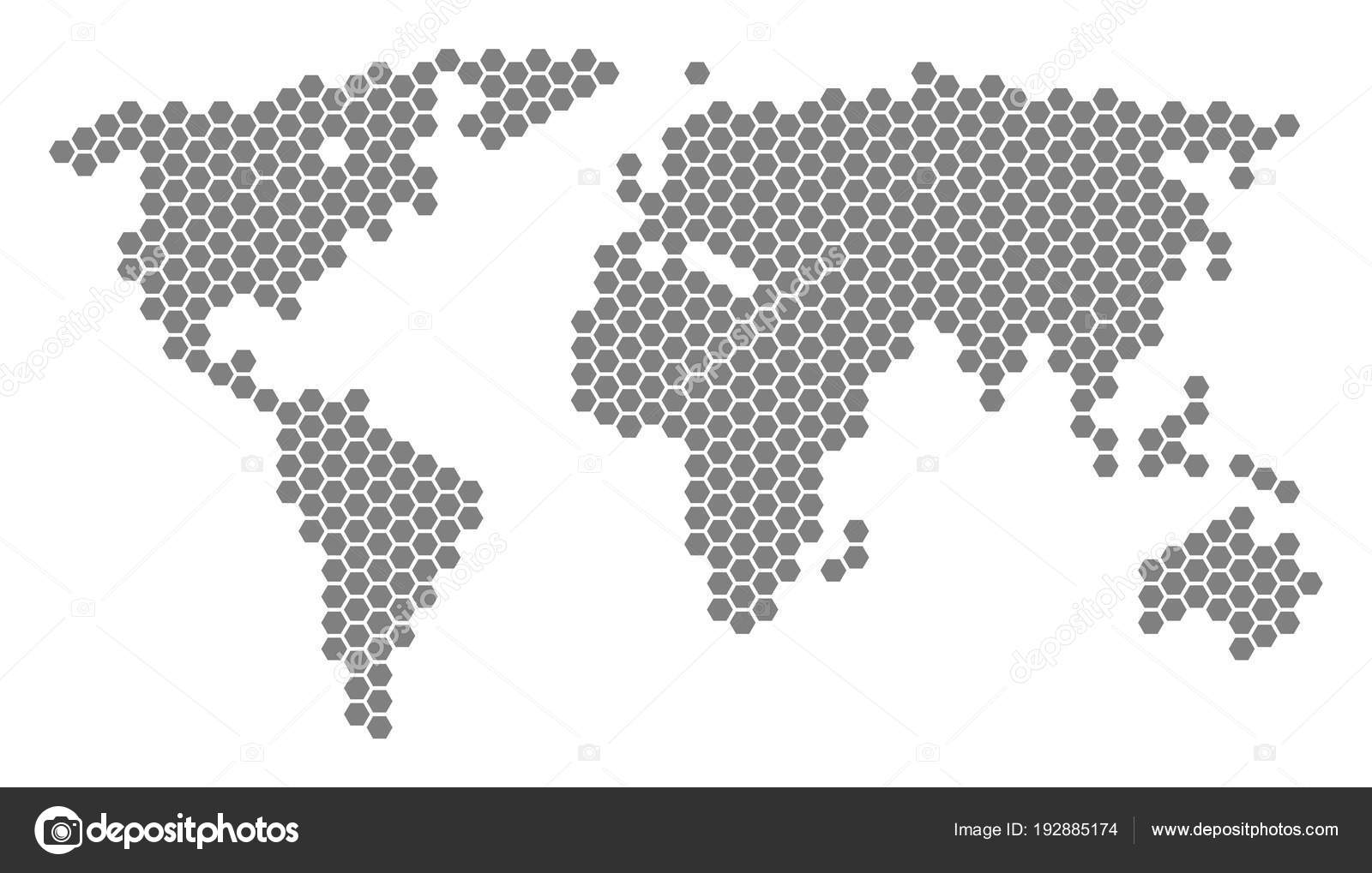 Gray hexagon world map stock vector ahasoft 192885174 grey hexagonal world map vector geographic map in gray color on a white background vector composition of world map constructed of hexagonal items gumiabroncs Images