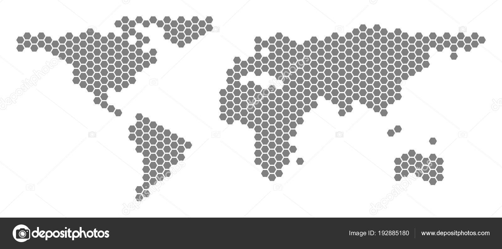Grey hexagon world map stock vector ahasoft 192885180 grey hexagonal world map vector geographic map in gray color on a white background vector mosaic of world map done of hexagon pixels vector by ahasoft gumiabroncs Gallery