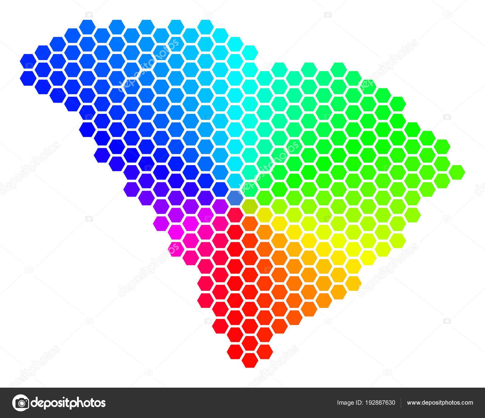 Spectrum Hexagon South Carolina State Map — Stock Vector © ahasoft ...