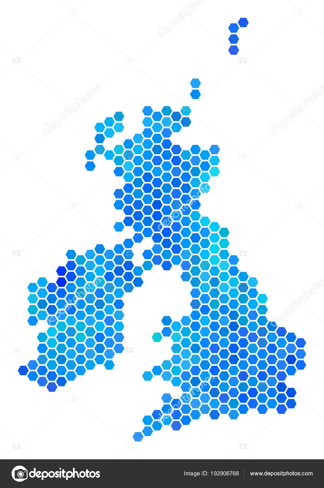 Britain And Ireland Map.Blue Hexagon Great Britain And Ireland Map Stock Vector C Ahasoft