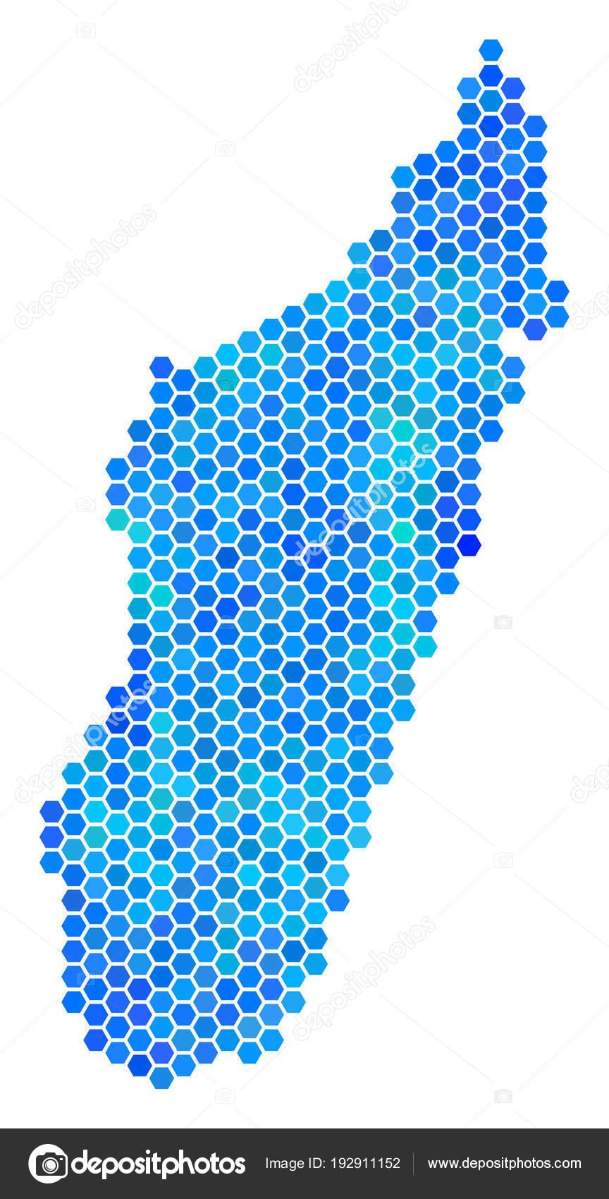 Isla De Madagascar Mapa.Mapa De La Isla De Madagascar De Hexagono Azul Vector De
