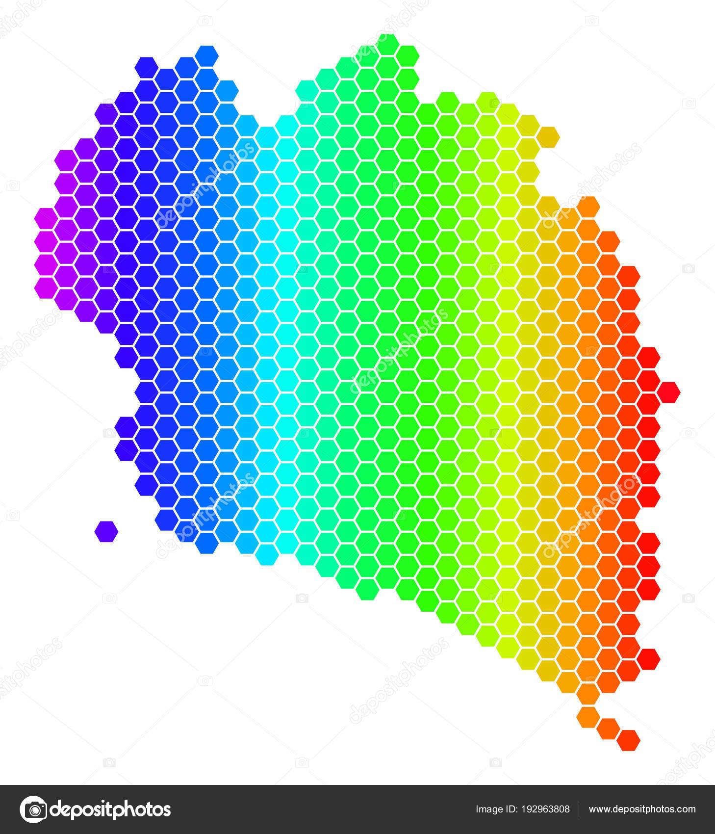 Koh Phangan Thailand Map.Spectrum Hexagon Koh Phangan Thai Island Map Stock Vector