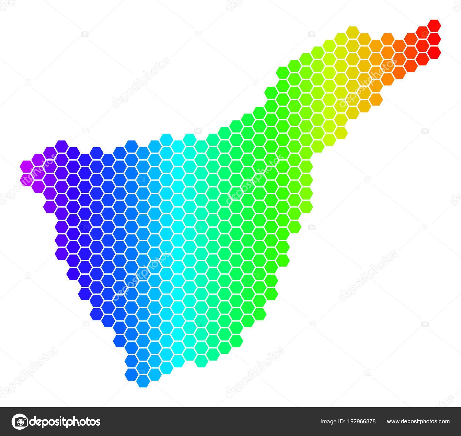 Teneriffa Karte Spanien.Spektrum Sechseck Spanien Teneriffa Karte Stockvektor Ahasoft